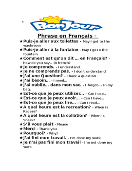 Classroom Sentences in french