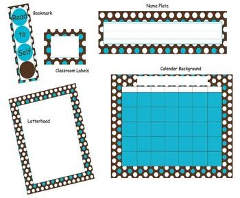 Classroom Set- Brown & Blue Polka Dots