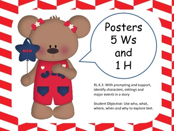 Patriotic Theme 5 Ws & 1 H  Dolch Sight Words Classroom Set-Posters
