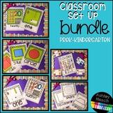 Classroom Set Up Number, Color, and Shape Poster Bundle for PreK-Kindergarten