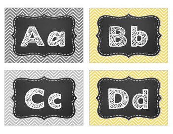 Classroom Set-Up Pack {Gray and Yellow Chevron}