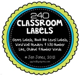 Classroom Set of Labels: Library & Genre Labels, Word Wall Headers & Number Line