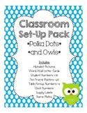 Classroom Set-up Pack *Polka Dots & Owls*