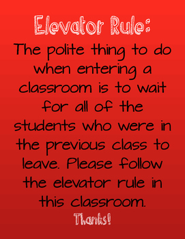 Classroom Sign Elevator Rule- Red