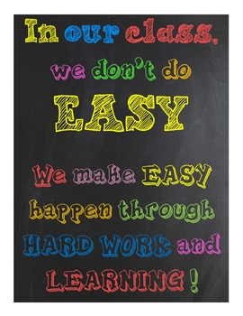 Classroom Sign~ In our class, we don't do EASY