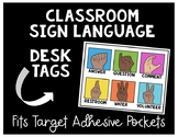 Classroom Sign Language Desk Tags for Target Pockets
