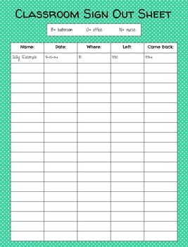 classroom sign out sheet freebie