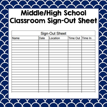Classroom Sign Out Sheet Teaching Resources  Teachers Pay Teachers
