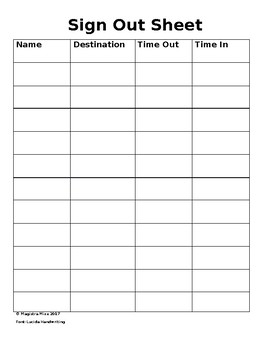 Classroom Sign Out Sheet