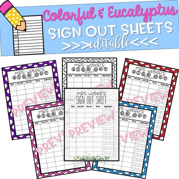 Classroom Sign Out Sheet Editable!