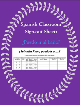 Classroom Sign-Out Template - Classroom Management - Spanish 1 - 4