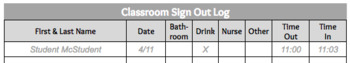 Classroom Sign Out / Sign In Log - Editable