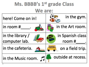 Classroom Sign: Where is our class?