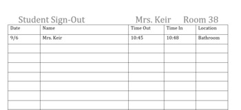 Classroom Sign-out Sheet