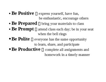 Classroom Sign--the 5 Ps--prepared, polite, positive, prompt, productive