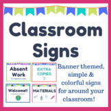 Classroom Signs - Absent, Extra Copies, Materials, Welcome