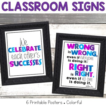 Classroom Signs Blues and Purples