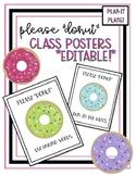Classroom Signs!  DONUT THEME! Editable!