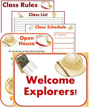 Classroom Signs, Forms and Bulletin Board Materials ~ Theme: Explorers
