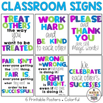 Classroom Signs Green Blue and Purple
