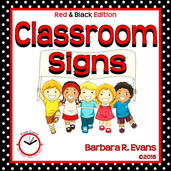 CLASSROOM SIGNS: Red & Black, Procedures, Information, Decor