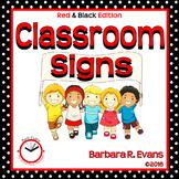 CLASSROOM SIGNS: Red & Black, Procedures, Information, Decor