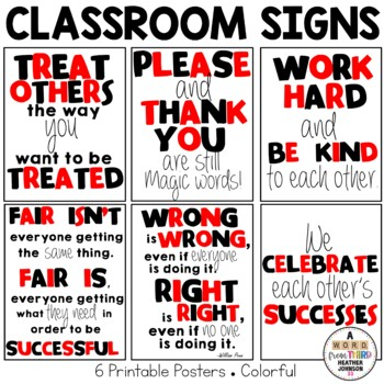 Classroom Signs Red and Black