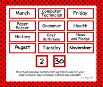 Classroom Signs - Red with Black Polka Dots