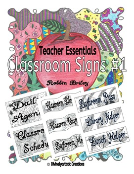 Classroom Signs Volume #1 - Hand drawn DOODLES!