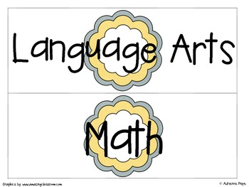 Classroom Signs: Yellow and Gray Accents