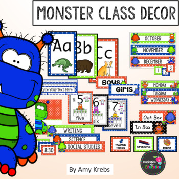 Classroom Signs and Calendar - Monster Style (with Editable parts)