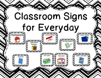 Classroom Signs for Everyday-Black Chevron