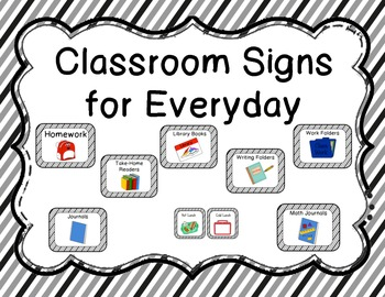 Classroom Signs for Everyday-Black Stripe