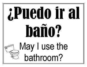Bathroom Signs In Spanish classroom signs in spanishlindsey knecht | teachers pay teachers