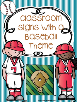 Classroom Signs with Baseball Theme