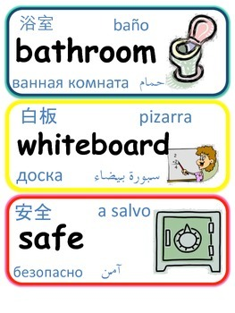 Classroom Signs with Translation Vocabulary