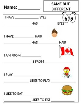 Classroom Similarities and Differences Sheet