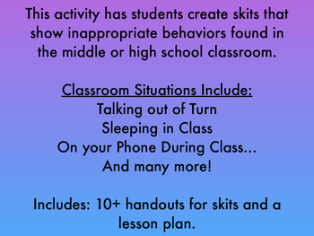 Classroom Situations Activity for High School Classroom Management