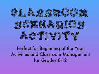 Classroom Situations Activity for High School Classroom Ma