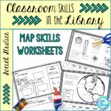 Map Skills Worksheets for Library   Distance Learning