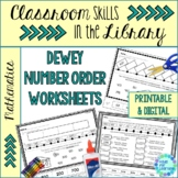 Dewey Decimal System Number Activities Worksheets for Library