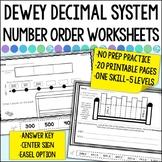 Dewey Decimal Number Order Worksheets for Library   Distance Learning