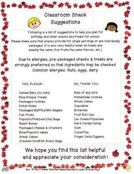 Classroom Snack List
