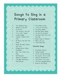 Classroom Song List