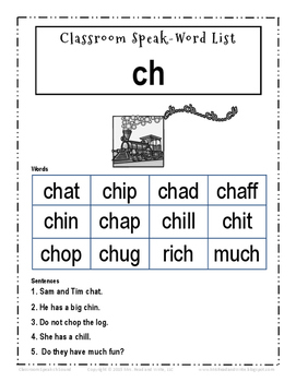 Classroom Speak:  Script to Teach the Digraph CH