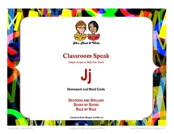 Classroom Speak:  Teaching J Homework and Word Cards