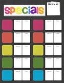 Classroom Specials Chart