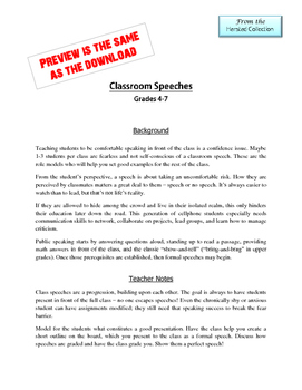 Classroom Speaking: A Six-Speech Game Plan with Printables