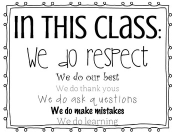 Classroom Standards or Rules