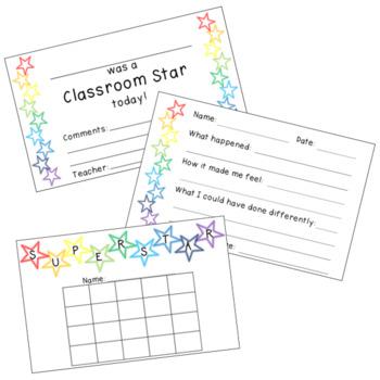 Classroom Star Reward Cards, Behavior Helpers, and Motivators